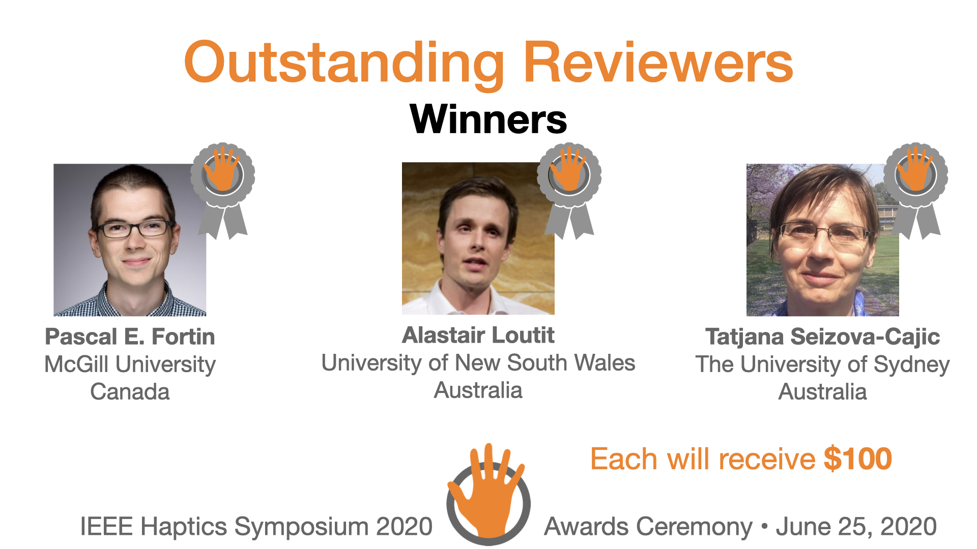 An award slide featuring the three winners of the outstanding reviewers award