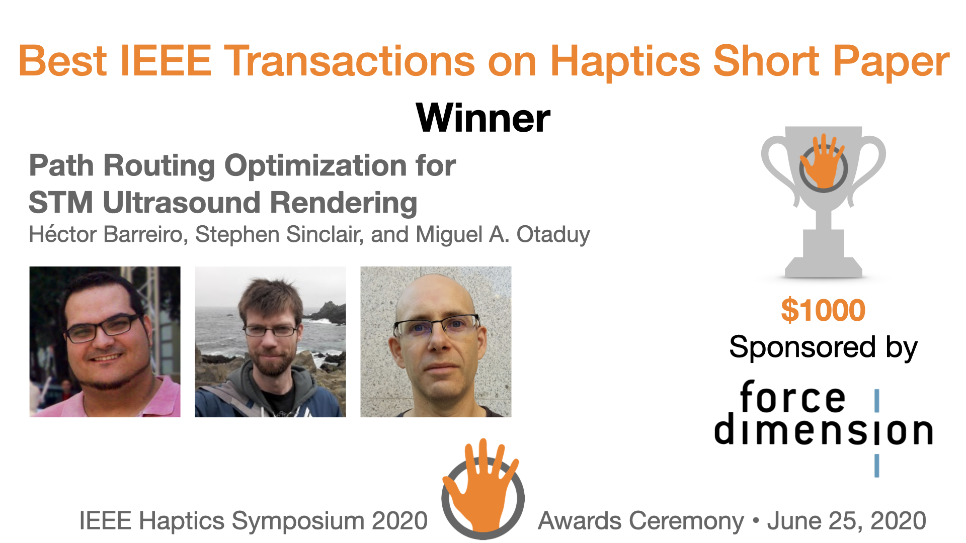 An award slide featuring the authors and sponsor